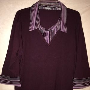 Quarter sleeve sweater with blouse attached